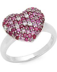 Effy - Ruby & Sapphire Heart Ring - Lyst