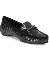 Donald J Pliner - Embossed Leather Driver Loafers - Lyst