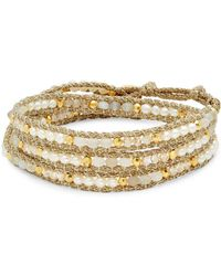 Chan Luu - Goldtone Beaded Leather Bracelet - Lyst