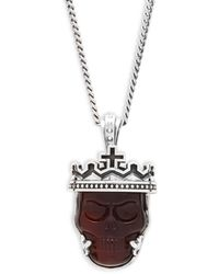 King Baby Studio - Sterling Silver Skull Pendant Necklace - Lyst