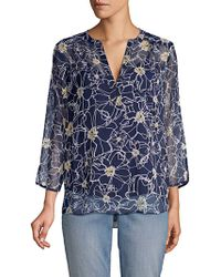 NYDJ - Floral Silk Blouse - Lyst