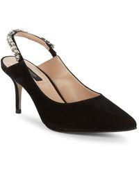 8901034fa32 Lyst - Gianni Bini Rizbee Leather Ankle Tie Sling Pumps in Black
