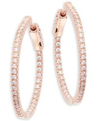 "CZ by Kenneth Jay Lane - Rose Goldplated Cubic Zirconia Inside Out Hoop Earrings/1"" - Lyst"