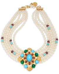 Ben-Amun - Crystal And Faux Pearl Multi-strand Collar Necklace - Lyst
