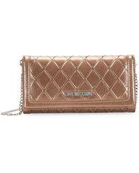 Love Moschino - Embossed Metallic Wallet Clutch - Lyst