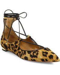 Aquazzura - Woman Christy Leopard-print Calf Hair Point-toe Flats Multicolor - Lyst