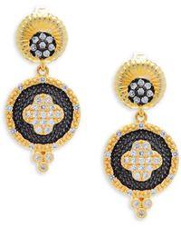 Freida Rothman - Decorated Medallion Sterling Silver Drop Earrings - Lyst