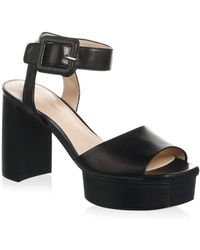 Stuart Weitzman - Ankle Strap Patent Leather Platform Sandals - Lyst