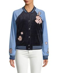 Juicy Couture - Floral-patch Velour Bomber Jacket - Lyst