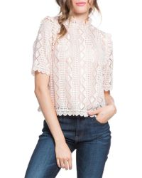 Plenty by Tracy Reese - Scallop Trim Lace Blouse - Lyst
