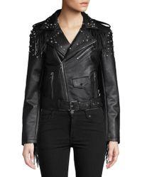 Vigoss - Studded Fringe Faux-leather Jacket - Lyst