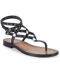 Valentino - Grommet Leather Ankle Strap Sandals - Lyst
