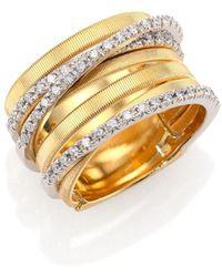 Marco Bicego - Diamond, 18k Yellow & White Gold Seven-row Ring - Lyst