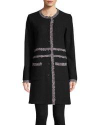 Karl Lagerfeld - Collarless Tweed-trimmed Long Coat - Lyst