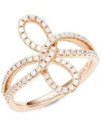 Nephora - Split Shank Diamond Bow Ring - Lyst