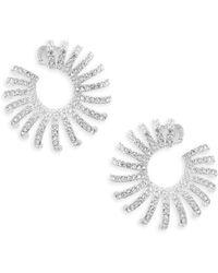 Adriana Orsini - Sterling Silver & Swarovski Crystal Hoop Earrings - Lyst