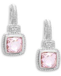 Judith Ripka - Natalie Sterling Silver, Pink Crystal & White Topaz Cushion Drop Earrings - Lyst