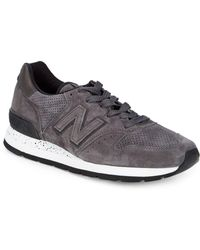 New Balance - Suede & Leather Perforated Sneakers - Lyst
