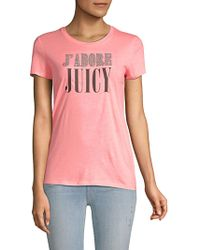 Juicy Couture - Embellished J Adore Cotton Tee - Lyst