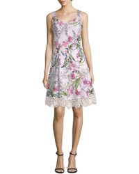 Donna Ricco - Floral-print Sleeveless Fit-&-flare Dress - Lyst