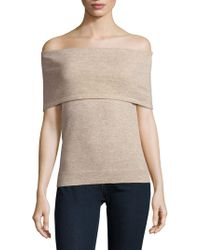 Saks Fifth Avenue Black - Knitted Off-the-shoulder Top - Lyst
