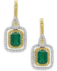 Effy - Brasilica Emerald, Diamond And 14k Yellow And White Gold Drop Earrings - Lyst