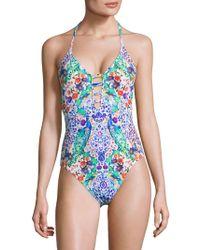 La Blanca - One-piece Eden Keyhole Halter Swimsuit - Lyst
