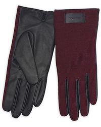 Calvin Klein - Knit & Leather Gloves - Lyst