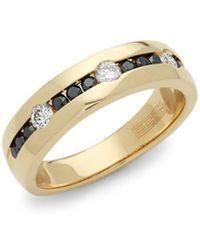 Effy - Black Diamond, Diamond And 14k Yellow Gold Ring - Lyst