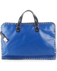 Valentino - Zip Leather Briefcase - Lyst