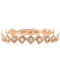 EF Collection - Multi Diamond And 14k Rose Gold Stack Ring - Lyst