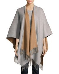 Saks Fifth Avenue Black - Merino Wool Cape - Lyst