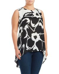 Vince Camuto - Plus Printed Hi-lo Blouse - Lyst