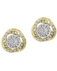 Effy - Duo Diamond And 14k White Gold And Yellow Gold Stud Earrings - Lyst