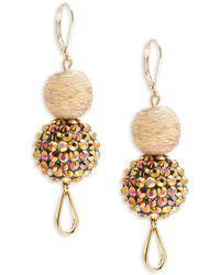 Saks Fifth Avenue - Crystal & Fabric Double Drop Earrings - Lyst