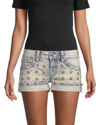 Miss Me - Embellished Denim Shorts - Lyst