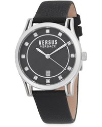 Versus - Shepherds Stainless Steel Leather Strap Watch - Lyst