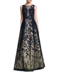 Basix Black Label - Embroidered Illusion Ball Gown - Lyst
