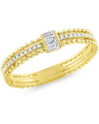 KC Designs - 14k Yellow Gold & Baguette Diamond Stack Ring - Lyst