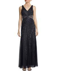 Adrianna Papell - Deep V-neck Beaded Floor-length Dress - Lyst
