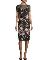 Donna Ricco - Floral Mesh Slip Dresss - Lyst