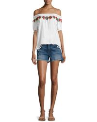 Christophe Sauvat - Smoke Embroidered Off-the-shoulder Top - Lyst