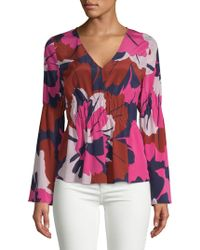 Tracy Reese - Floral Ruched Blouse - Lyst