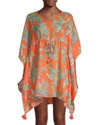Beach Lunch Lounge - Tropical-print Tie-front Cover-up - Lyst