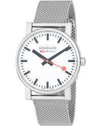 Mondaine - Stainless Steel Bracelet Watch - Lyst