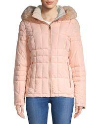 Calvin Klein - Quilted Faux Fur Hooded Jacket - Lyst