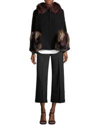 AQUILANO.RIMONDI Virgin Wool Fox Fur Cape Coat