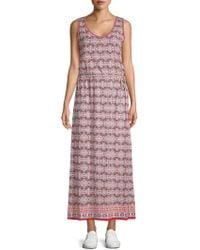 Max Studio - Printed Sleeveless Maxi Dress - Lyst