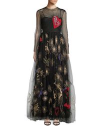 Valentino - Embroidered Tulle Gown - Lyst