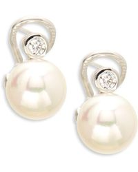 Majorica - Crystal & Sterling Silver Earrings - Lyst